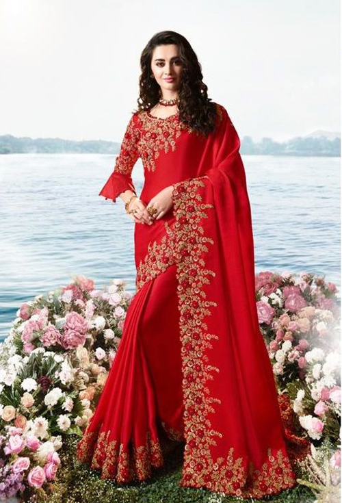 Red Color Designer Party Wear Saree