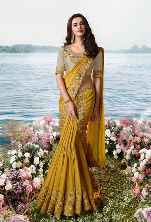 Bumblebee Yellow Party Wear Saree For Her
