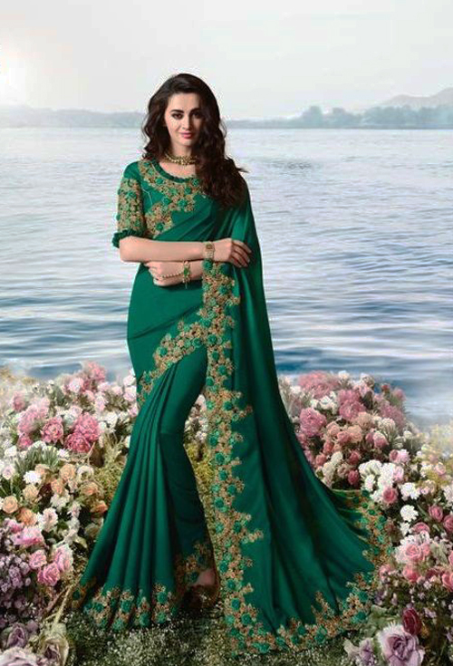 Deep Green Party Wear Saree For Her