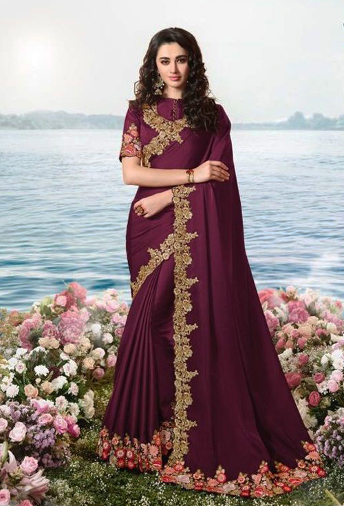Rosewood Color Party Wear Saree For Her