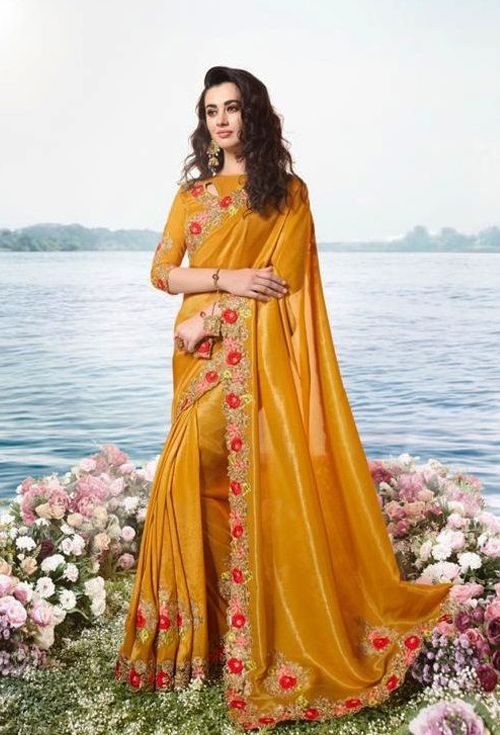 Butterscotch Color Party Wear Saree