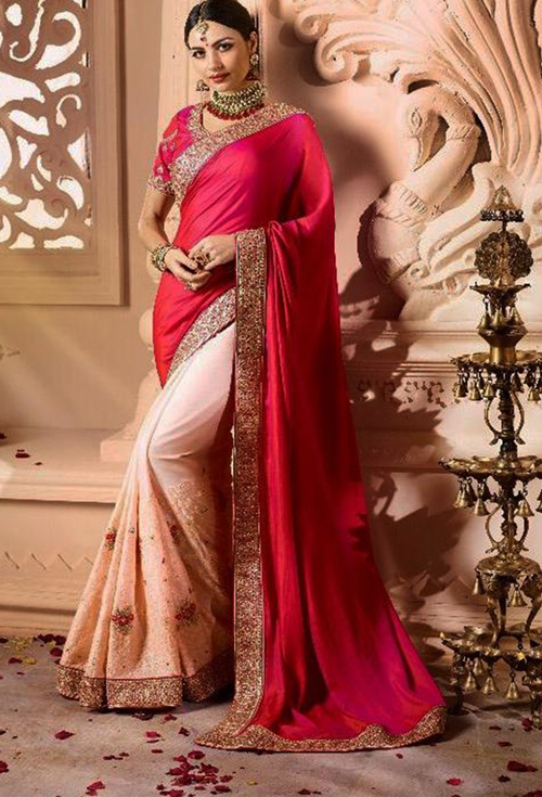 Sulakshmi Crimson Color Party Saree