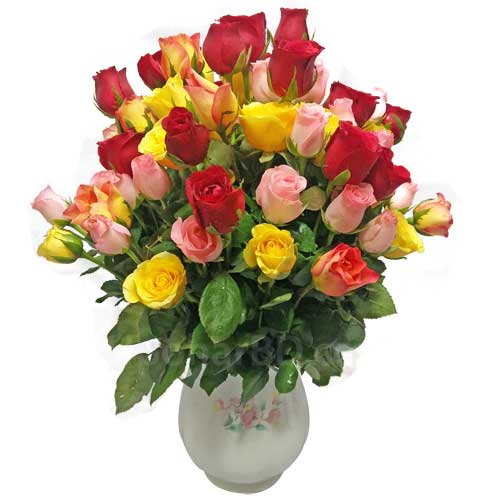 40 mix roses in a vase to amaze her