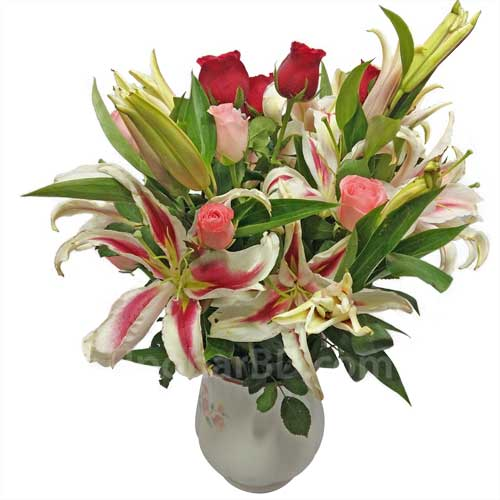 Roses with lilies