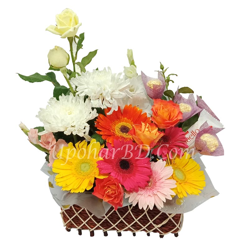 Basket with Chocolates and Colorful flowers
