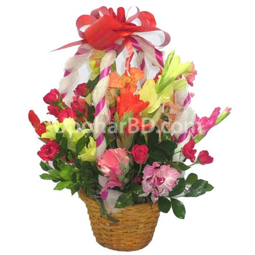 Rose with mix flower basket