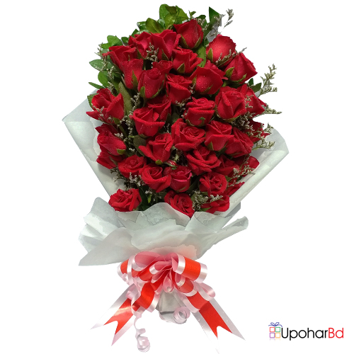 35 red roses in a bunch