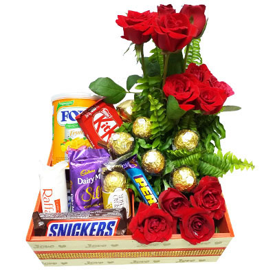 Flower Basket With Mouth-watering Chocolates