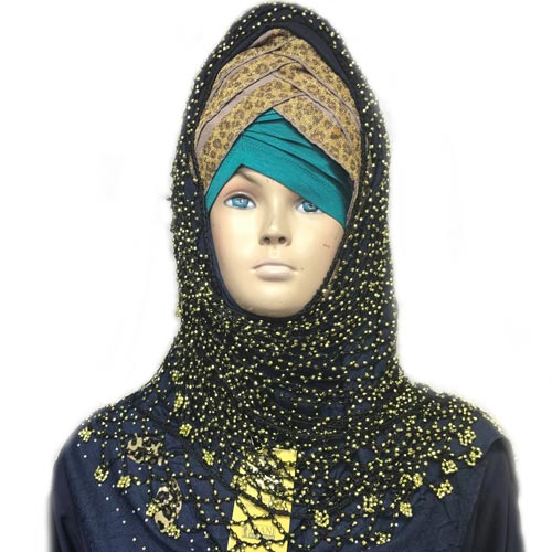 Dark blue & black hijab set