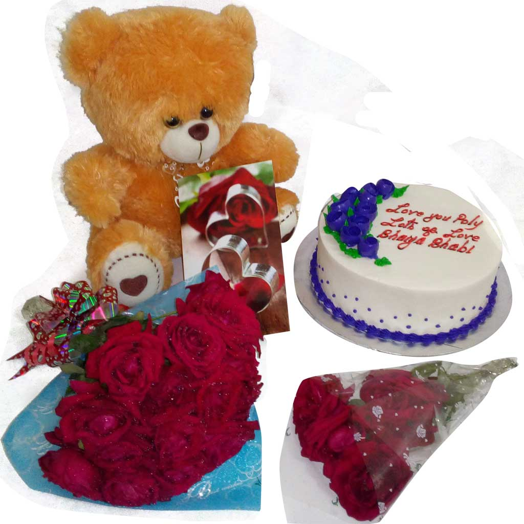 Fulkoli cake with teddy bear and flower bouquet