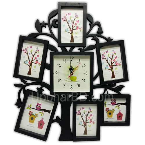Family tree photo frame with clock