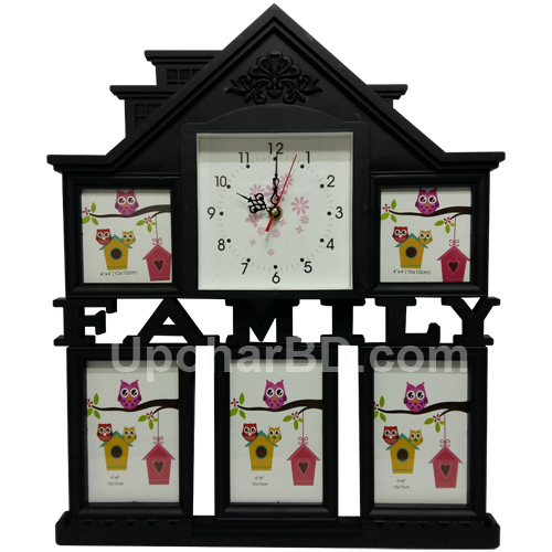 Home photo frame with clock