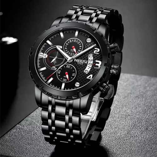 Full Black Chronograph Business Wrist Watch of Him