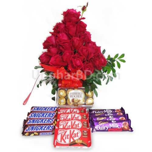 Red roses with lots of chocolate