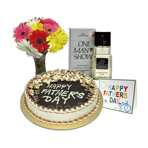 Gift basket with One Man Show perfume, Cake and Bouquet