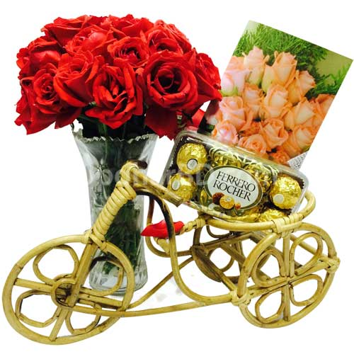 Standard gift with chocolate and roses