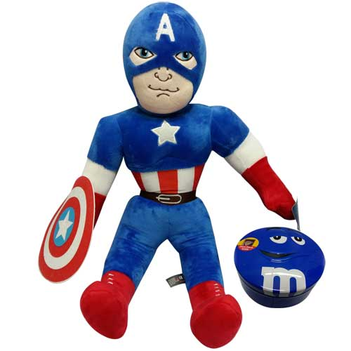 Captain America with a M&M box