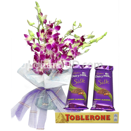 Purple Orchid with Chocolates