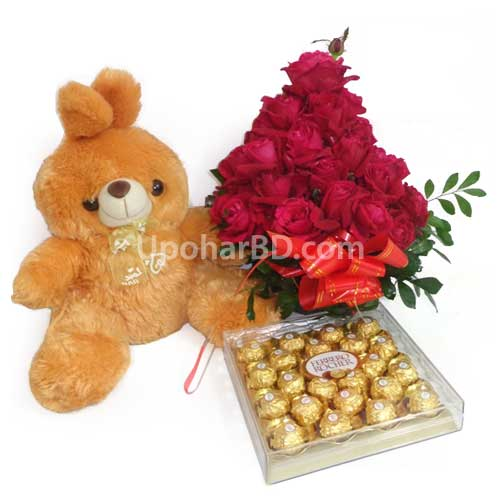 Ferrero with a teddy and roses