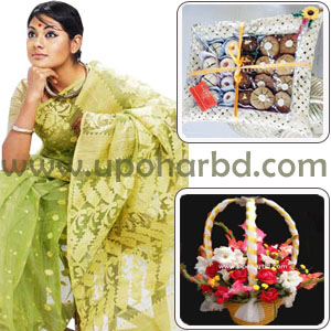 Dhakai Jamdani Sharee, bouquet and sweets- Top Package for her