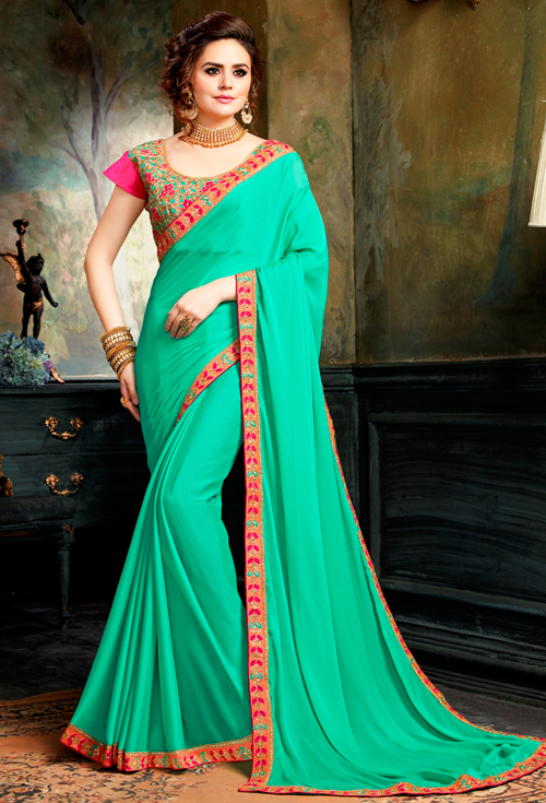 Gorgeous panton aqua gree color with colourful karchupi embroidery work wea