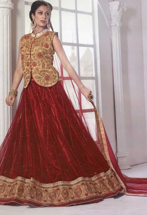 Vintage brown koti lehenga with embroidery