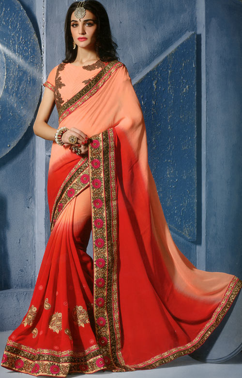 Peach-red soft georgette Border Work by Ginni Fashion Royal Look