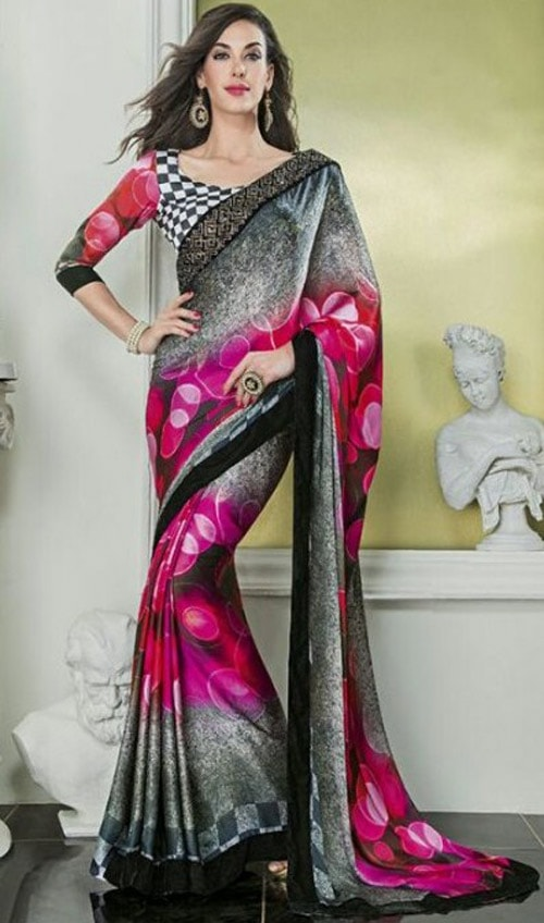 Multi color silk-georgette by Vishal print Damore collection