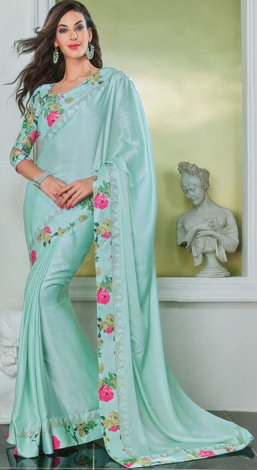 Light Aquamarine silk-georgette by Vishal print Damore collection