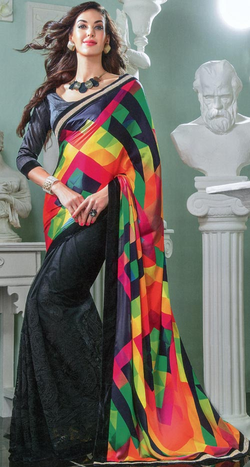 Black silk with rainbow design by Vishal print Damore collection