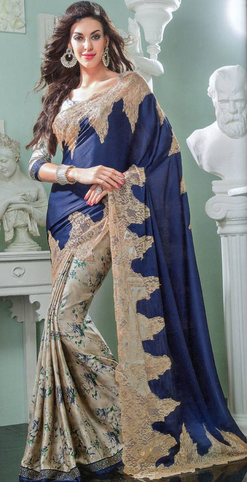 Navy-blue color floral print silk saree by Damore collection