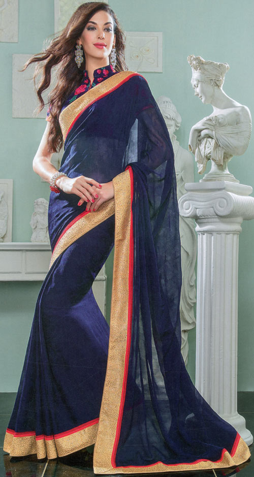 Navy-blue color silk-goergette saree by Damore collection