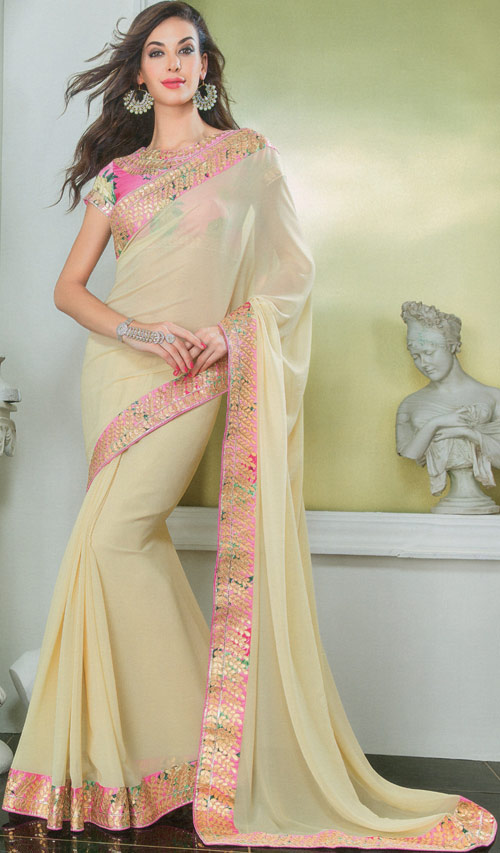Lemon chifon satin saree by Damore collection