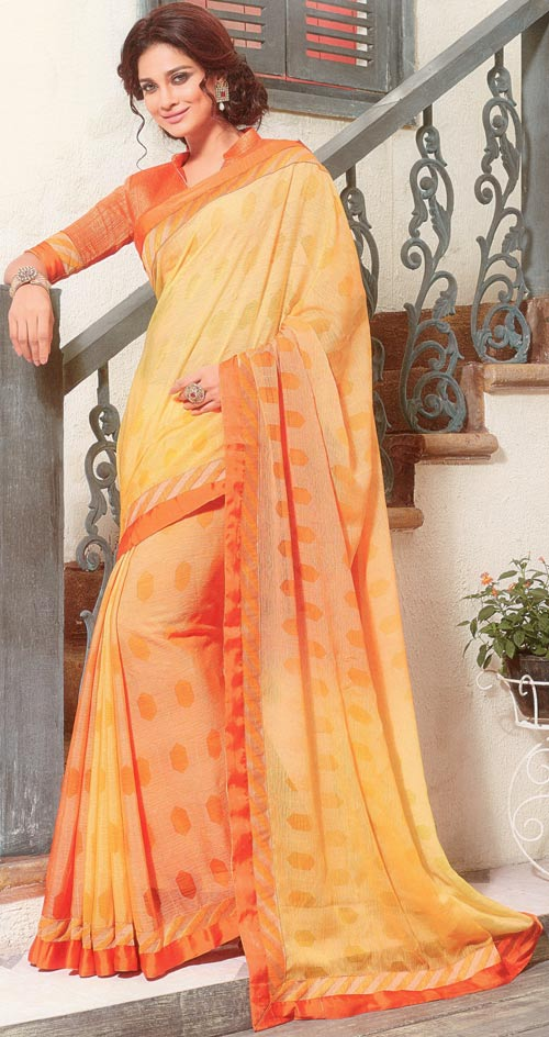 Yellow-orange brasso two tone saree by Vishal print Kiara collection