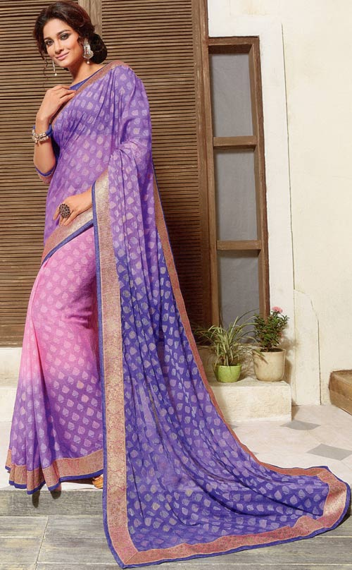 Pink-Indigo brasso two tone saree by Vishal print Kiara collection