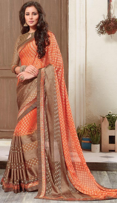 Brown-orange brasso two tone saree by Vishal print Kiara collection