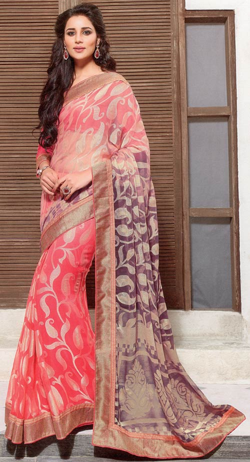 Pink-purple brasso two tone saree by Vishal print Kiara collection