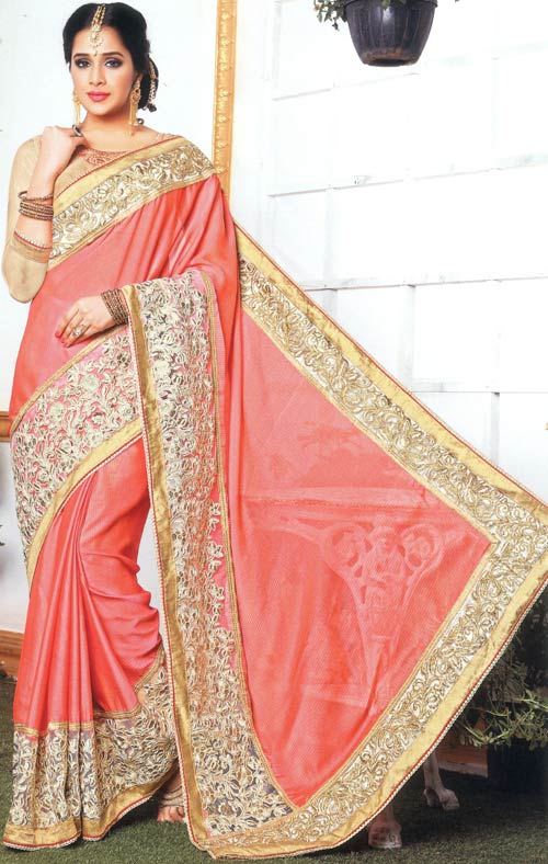 Watermelon Pink georgette heavy embroidery saree by Allol Shiresha
