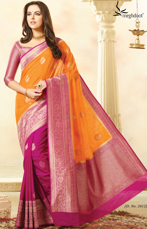 Magenta with orange combination half-silk saree by Meghdoot vindhya classic collection