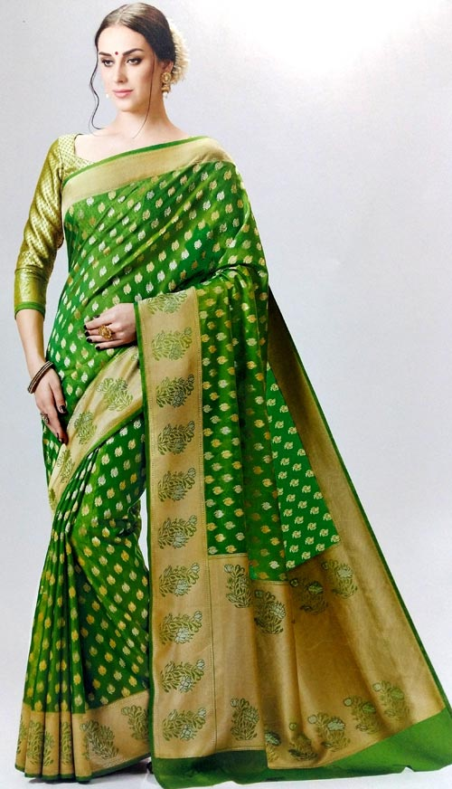 Green with gold combination half-silk saree by Meghdoot vindhya classic collection