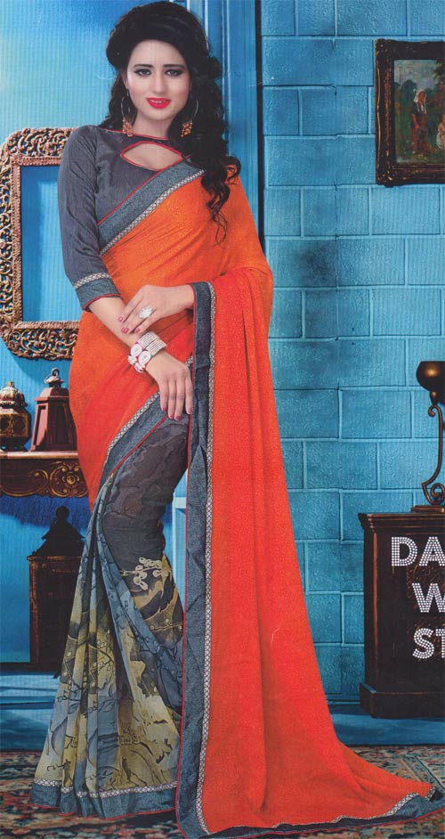 Printed - orange georgette border work by Pariyal saree