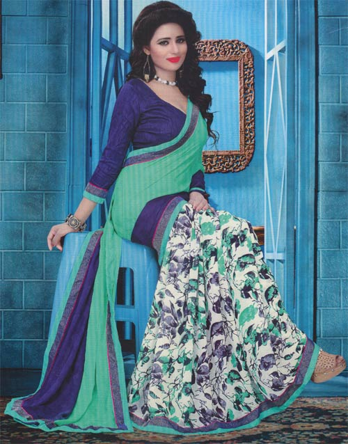 Floral - iceblue georgette border work by Pariyal saree