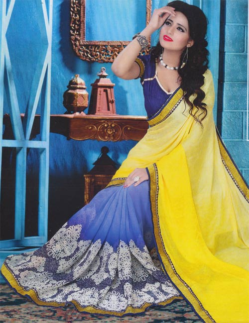 Yellow-blue georgette border work by Pariyal saree