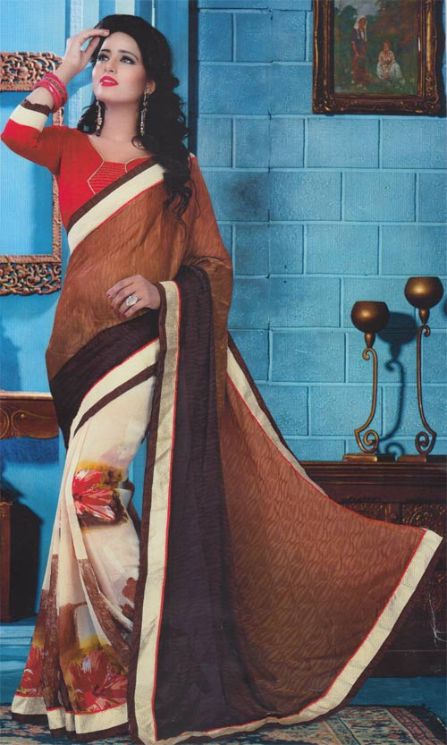 Floral-brown georgette border work by Pariyal saree