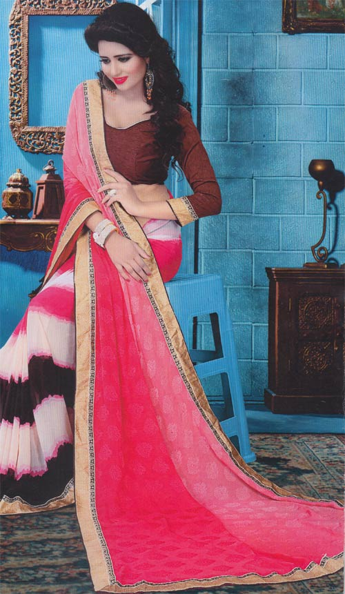 Brown-pink georgette border work by Pariyal saree