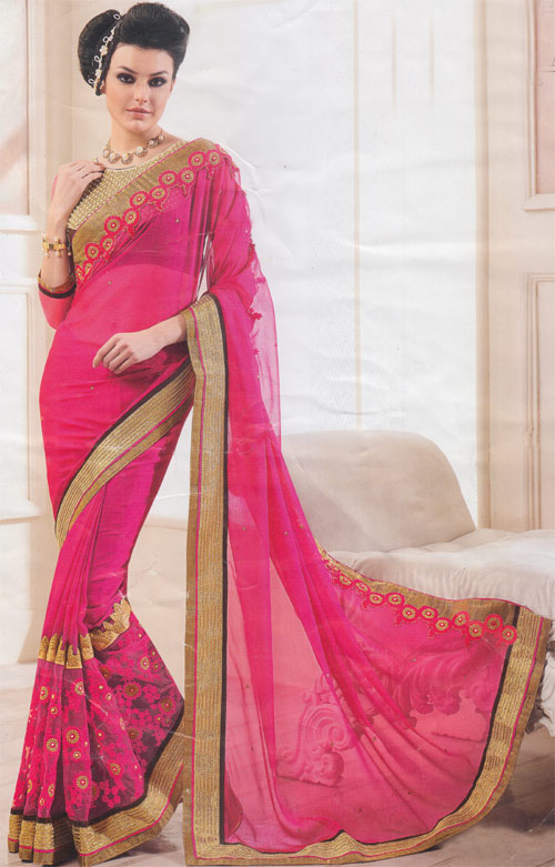 Hot pink soft georgette border work by Kalishta Fashion Heer collection