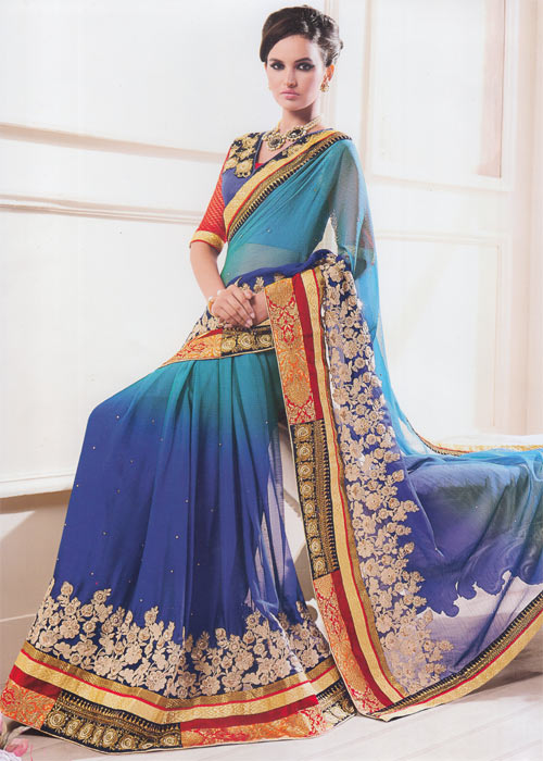 Mix blue georgette border work by Kalishta Fashion Heer collection