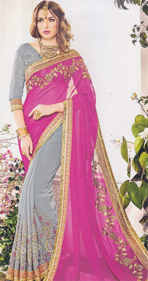 Gray-hot pink soft georgette Border Work by Khwaish creation