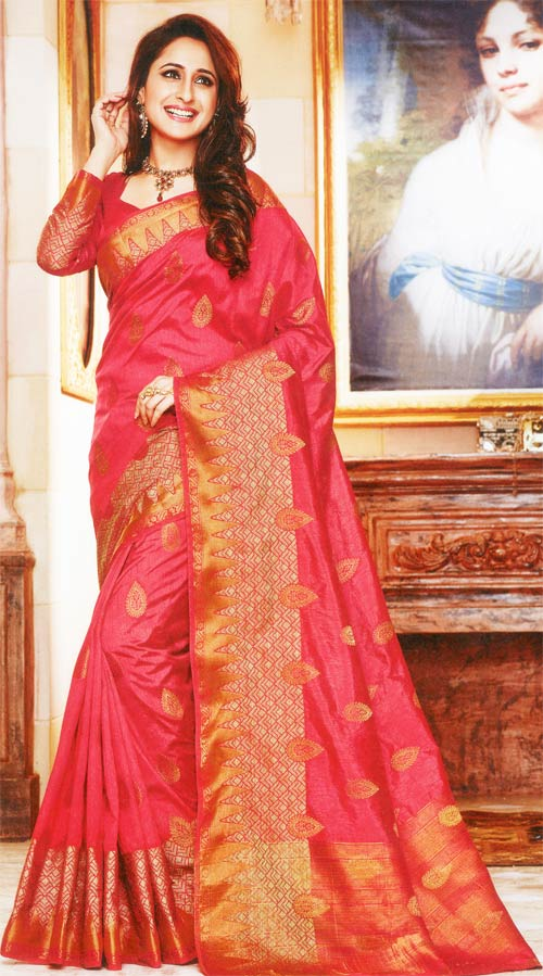 Carnation pink tasar silk by Rajguru collection