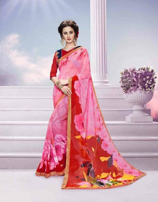 Pink Georgette Saree from Kalishta Fashion